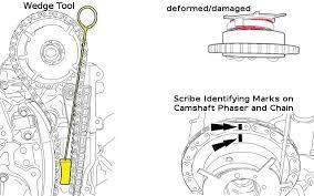 how to install a camshaft phaser sprocket for engine variable 2005 E350 5 4l 2 Valve Engine Wiring Diagram wegde tool, scribe mark and deformed vvt