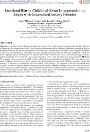 emotional bias in childhood event interpretation by adults emotional bias in childhood event interpretation by adults generalized anxiety disorder