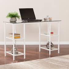 aiden metalglass writing desk  white  desks  home office  shop