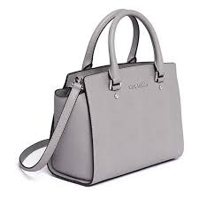 gray leather satchel purse