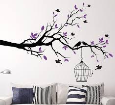 tree branch wall art sticker with bird cage removable vinyl wall bird wall decor