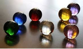 Glass Balls For Decoration 100mm Rare Acid blue decorative solid glass ball crystal ball 2