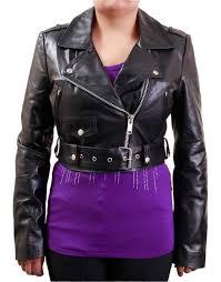 women s short black biker leather jacket