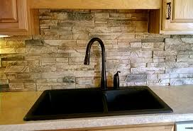 C  Kitchen Backsplash Made From Faux Drystack Stone Panels