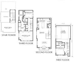 Story Townhouse Floor Plan   Roof Deck  Houston Townhouse Floor plans for