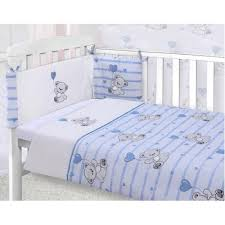 boys 3 piece nursery blue teddy cot bed