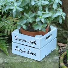personalised mini wooden planter gardening gift