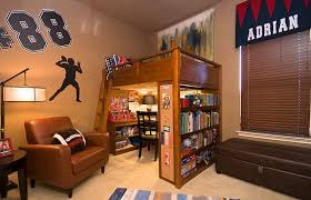 Loft Bed Design With Study Space Underneath And Sport Theme Bedroom