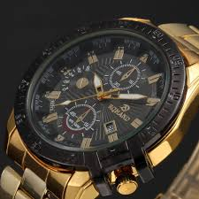 luxury mens black dial gold stainless steel date quartz analog luxury mens black dial gold stainless steel date quartz analog sport wrist watch