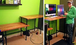 sitting standing steel pipe desk