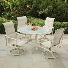 outdoor dining set hampton bay rust weather resistant aluminum beige 5 piece