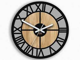 large wood clock loft wall clock black
