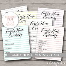 Family Home Evening Chart Lds Editable Pdf Printable Digital