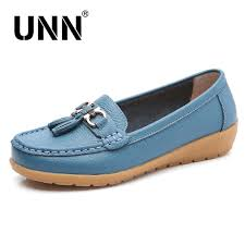 unn casual shoes women genuine leather shoes fashion loafers fringe slip on round toe solid