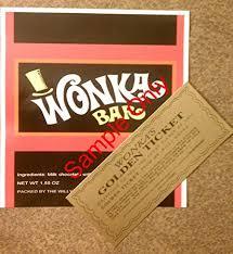 wonka chocolate bar with golden ticket.  Golden Willy Wonka Chocolate Bar Wrapper U0026 Golden TicketMini  No To Chocolate Bar With Golden Ticket L