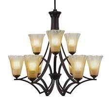 toltec lighting zilo dark granite 30 inch nine light chandelier with amber crystal glass