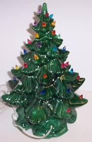 Vintage Lighted Bulbs Ceramic Christmas Tree Atlantic Mold Green Lights Base