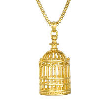 whole birdcage pendant necklace gold plated stainless steel birdcage pendant 60cm chain uni accessories hip hop jewelry silver chain necklace blue
