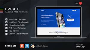 Bright Apps Startup Landing Page By Morad Themeforest