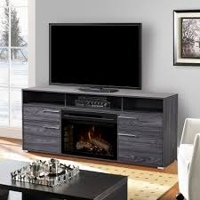 sander electric fireplace entertainment center in carbonized walnut