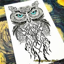 голубые глаза сова временные татуировки боди арт флэш татуировки
