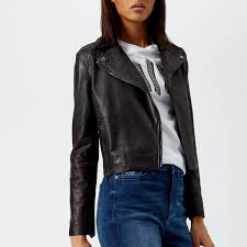 armani exchange women s nappa leather jacket black image 1