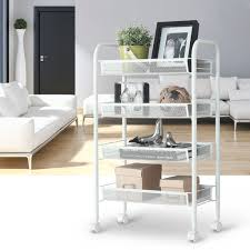 office rolling cart. 4 Tier Storage Trolleys Wire Mesh Rolling Kitchen Cart Pantry Office Bathroom UK .