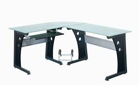 com techni mobili deluxe tempered frosted glass l shaped corner desk with pull out keyboard graphite kitchen dining