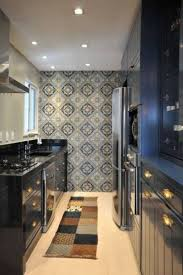 Kitchen:Black Cabinets On Small Galley Kitchen With Modern Wallpaper Idea  Black Cabinets On Small