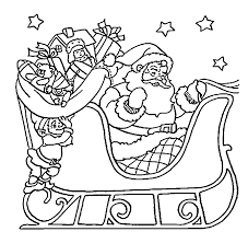 Santa Claus On Sleigh Coloring Pages For Kids Printable Free