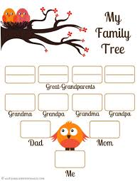 free family tree template for kids school project