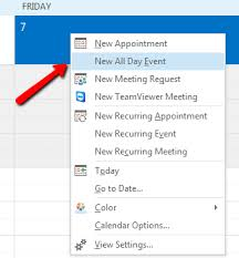 calendar office how to create outlook out of office calendar event block next of