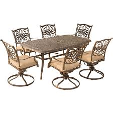 hanover traditions 7 piece aluminum outdoor dining set with 6 swivel dining chairs and natural
