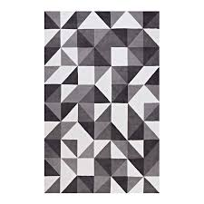 kahula geometric triangle mosaic 5x8 area rug in black gray and white