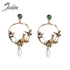 <b>JOOLIM Jewelry</b> Wholesale Antique Gold Leaf Bird Round Dangle ...