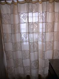 72 x 80 shower curtain cream patchwork sheer and lace shower curtain shower curtain ready to