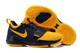 nike yellow shoes. new nike pg 1 deep blue yellow shoes