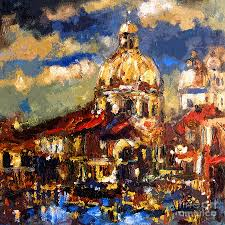 venice italy painting modern impressionist venice sparkling at sunset by ginette callaway