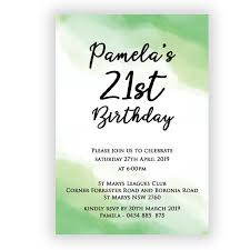 Birthday Invatations Watermark Green Birthday Invitation