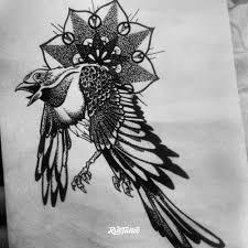 фото эскизы мертвый ворон в стиле графика дотворк черно белые