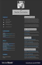 Professional Atypical Resume Cv On Dark Background Cool Resume Background
