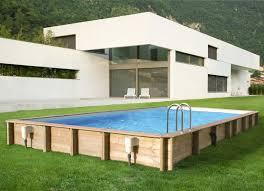 rectangular wooden pool