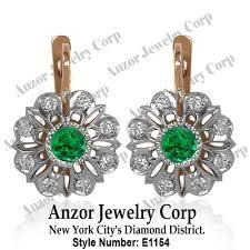 russian jewelry genuine emerald diamond earrings 14k solid two tone gold