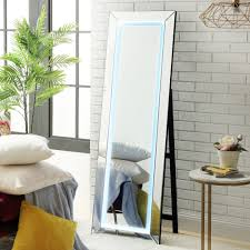 Free Standing Full Length Mirror With Lights Details About Led Full Length Floor Standing Mirror With Touch Sensor Light Foldable Frame