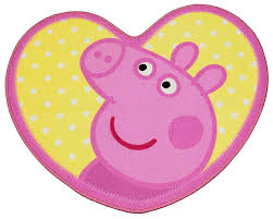 peppa pig fans will love this adorable design heart shaped rug