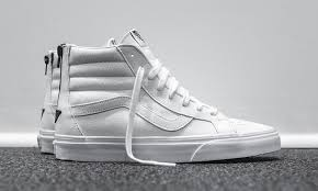 white high top vans leather