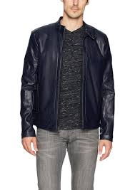 calvin klein men s faux leather perforated moto jacket 2x large