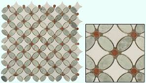 mirage glass tile flower series fs 72 marble tile in ming green red and thassos white