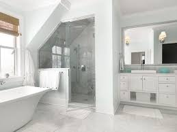 slanted ceiling bathroom transitional with carrara marble shower bamboo bathrobes