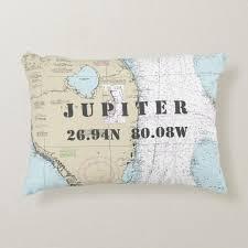 Nautical Chart Pillows Jupiter Florida Nautical Chart Latitude Longitude Decorative Pillow